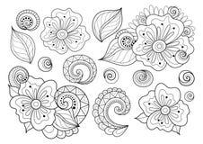 Ensemble de vecteur de beaux éléments monochromes de conception florale avec des insectes illustration libre de droits