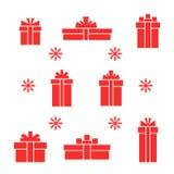 Ensemble de vecteur de boîte-cadeau et de flocon de neige rouges plats Images stock