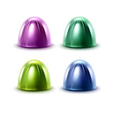 Ensemble de vecteur de bonbons au chocolat réalistes en fin d'emballage de Violet Green Blue Glossy Foil sur le fond blanc Photos libres de droits