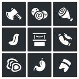 Ensemble de vecteur de boucher Shop Icons Image libre de droits