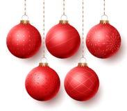 Ensemble de vecteur de boules de Noël avec accrocher différent de conceptions illustration stock