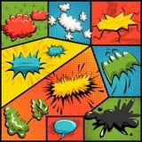 Ensemble de vecteur de bulles d'explosion de bandes dessinées Image libre de droits