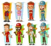 Ensemble de vecteur de caractères de sportifs et de joueurs de baseball de bande dessinée illustration stock