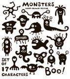 Ensemble de vecteur de caractères drôles de monstre Image stock