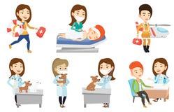 Ensemble de vecteur de caractères et de patients de docteur illustration libre de droits