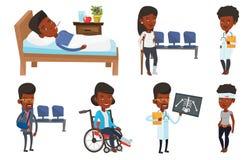 Ensemble de vecteur de caractères et de patients de docteur illustration stock