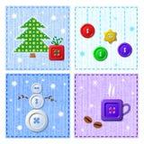 Ensemble de vecteur de cartes de voeux de Noël Image stock