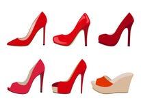 Ensemble de vecteur de chaussures réalistes rouges de femmes Photos stock