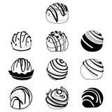 Ensemble de vecteur de chocolats Collection de bonbons stylisés Illustration noire et blanche des desserts Illustration de Vecteur