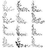 Ensemble de vecteur de coins floraux Images stock