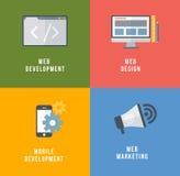 Ensemble de vecteur de concepts plats de service de Web Image stock