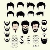 Ensemble de vecteur de coupe de cheveux de style de hippie, verres Photos libres de droits