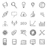 Ensemble de vecteur de croquis SEO Icons Photos libres de droits