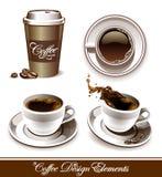 Ensemble de vecteur de cuvettes de café Photo stock