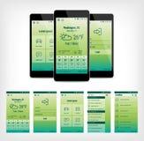 Ensemble de vecteur de design de l'interface mobile vert d'utilisateur Images stock
