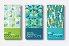 Ensemble de vecteur de designs d'emballage de barre de chocolat avec les modèles de mosaïque géométriques Collection Editable de  Photos stock