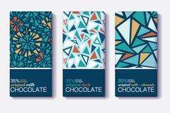 Ensemble de vecteur de designs d'emballage de barre de chocolat avec les modèles de mosaïque géométriques de vintage Calibre Edit Images stock