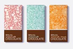 Ensemble de vecteur de designs d'emballage de barre de chocolat avec les modèles floraux de vintage Photo stock