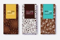 Ensemble de vecteur de designs d'emballage de barre de chocolat avec les modèles floraux modernes de Brown Cadres en pastel de re Photographie stock libre de droits