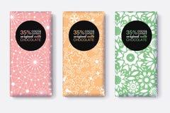 Ensemble de vecteur de designs d'emballage de barre de chocolat avec les modèles géométriques en pastel Collection Editable de ca Photographie stock libre de droits