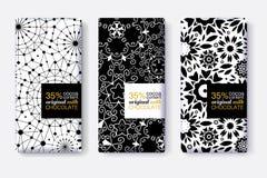 Ensemble de vecteur de designs d'emballage de barre de chocolat avec les modèles géométriques noirs et blancs Calibre Editable d' Image libre de droits