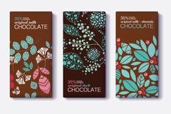 Ensemble de vecteur de designs d'emballage de barre de chocolat avec les modèles modernes d'usines et de feuilles Lait, obscurité Photographie stock