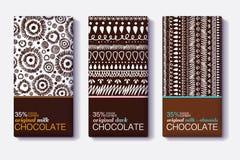 Ensemble de vecteur de designs d'emballage de barre de chocolat avec les modèles tribals modernes de Brown Ikat Cadre de frontièr Photographie stock