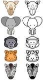 Ensemble de vecteur de dessin animé sauvage ou d'animaux de zoo. Photo stock