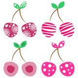 Ensemble de vecteur de différentes illustrations de fruits Cerises colorées ornementales décoratives d'isolement sur le fond blan illustration de vecteur