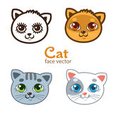 Ensemble de vecteur de différents visages de chats de bande dessinée Photo stock