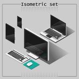 Ensemble de vecteur de dispositifs isométriques Photographie stock