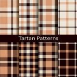 Ensemble de vecteur de dix modèles bruns traditionnels sans couture de tartan Images stock