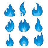 Ensemble de vecteur de flammes bleues Une collection des feux stylisés Incendie abstrait Illustration Libre de Droits