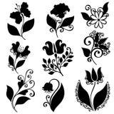 Ensemble de vecteur de fleurs Pochoirs d'isolement Image libre de droits
