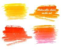 Ensemble de vecteur de fond abstrait d'aquarelle avec la texture de papier Photo libre de droits