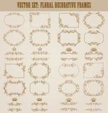 Ensemble de vecteur de frontières décoratives d'or, cadre Images libres de droits