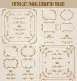 Ensemble de vecteur de frontières décoratives d'or, cadre Photo libre de droits