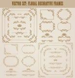Ensemble de vecteur de frontières décoratives d'or, cadre Image stock