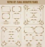 Ensemble de vecteur de frontières décoratives d'or, cadre Photographie stock libre de droits