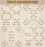 Ensemble de vecteur de frontières décoratives d'or, cadre Image libre de droits