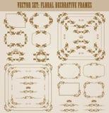 Ensemble de vecteur de frontières décoratives d'or, cadre Photographie stock