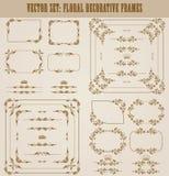 Ensemble de vecteur de frontières décoratives d'or, cadre Photo stock