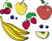 Ensemble de vecteur de fruit coloré et de baies d'isolement sur un blanc Images stock