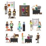 Ensemble de vecteur de gens d'affaires d'icônes, éléments de conception, style plat illustration libre de droits