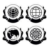 Ensemble de vecteur de globes d'emblèmes Illustration Libre de Droits