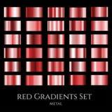 Ensemble de vecteur de gradients rouges en métal Collection d'échantillons de gradation Photo libre de droits