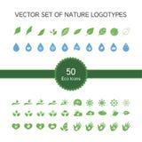 Ensemble de vecteur de 50 icônes d'écologie, logo de nature illustration stock