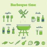 Ensemble de vecteur de icônes de barbecue de schéma dans le style minimal EPS10 Image libre de droits