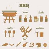 Ensemble de vecteur de icônes de barbecue de schéma dans le style minimal EPS10 Images libres de droits