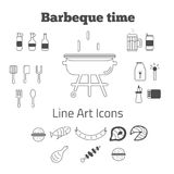 Ensemble de vecteur de icônes de barbecue de schéma dans minimal Photographie stock